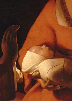 """""""The Newborn Infant """" c. 1645-8, detail ,oil on canvas by Georges de la Tour (1593–1652). Museum of Fine Arts of Rennes ."""