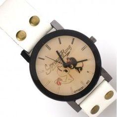 Reloj blanco con esfera en tonos pastel y borde negro. Con dibujos de dos gatos enamorados en su esfera. Tamaño #reloj #relojpulsera #relojgato