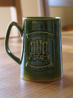 Green glazed tankard commemorating the investiture of HRH Prince Charles as Prince of Wales on July Made in England by the Holkham Pottery. Prince Of Wales, Prince Charles, Vintage Green, England, Pottery, Tableware, Royalty, British, Antiques