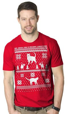 Meow meow meow meow! Let everyone know you love Christmas time.and cats.when you rock this funny shirt! Why Choose a Crazy Dog T-shirt?. All of our tees are screen printed in the U.S. We pride ourselves in high quality and want our t-shirts to be the first out of your drawer every time!   eBay!