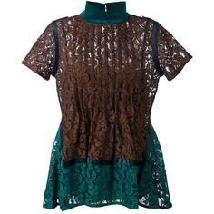 Sacai floral lace short sleeve top (16 110 UAH) ❤ liked on Polyvore featuring tops, green, flare tops, floral lace top, floral print tops, floral tops and print top
