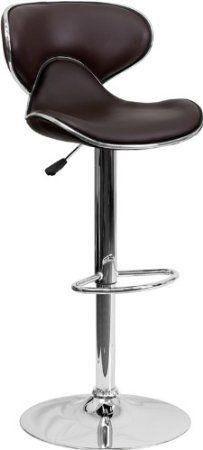 Amazon.com - Cozy Seat Modern Swivel Home Bar Counter Barstools With Back & Chrome Base #815 (Black) - Bar Stools $62