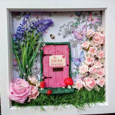 Fairy Door Wall Art  Fairy Garden Scene Box Frame  by MerryElfmas