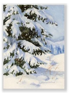 Winter Pine Christmas Watercolor Greeting Card by Susie Short