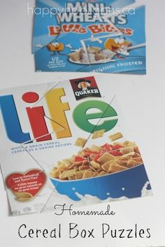 Cereal Box Puzzles to Make for Kids - Happy Hooligans - Homemade cereal box puzzles for kids. Kids LOVE doing puzzles, and you can make your own – as dif - Puzzles For Toddlers, Fun Activities For Kids, Creative Activities, Crafts For Kids, Cereal Box Craft For Kids, Happy Hooligans, Homemade Cereal, Homemade Toys, Environmental Print
