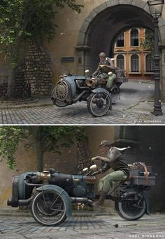 The Journey by Rory Bjorkman | Steampunk three wheeler vehicle 3D re dering, illustration