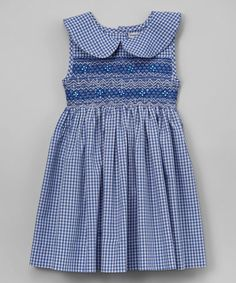 Love this Blue Peter Pan Collar Smocked Dress - Infant, Toddler & Girls on #zulily! #zulilyfinds