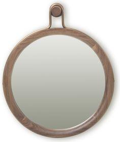 Utility Round Mirror Walnut, Small by Stellar Works
