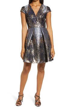 Vince Camuto Metallic Jacquard Fit & Flare Cocktail Dress | Nordstrom
