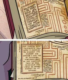 Secret code <<< This is why I want Dip and Mabel's Guide because I think it has the key for this code in it Gravity Falls Anime, Gravity Falls Cipher, Gravity Falls Codes, Gravity Falls Wiki, Gravity Falls Secrets, Gravity Falls Theory, Gravity Falls Journal, Dipper And Mabel, Mabel Pines