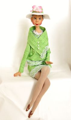 Ooak Ethnic Art Doll dressed in Pink and Green
