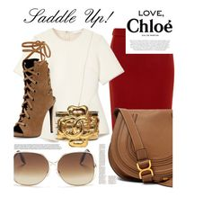"""Chloe Saddle Bag"" by nicole-goodwin-bennett ❤ liked on Polyvore featuring Lanvin, Chloé, Victoria Beckham, Alexander Wang, Giuseppe Zanotti, Chanel, handbag and saddleup"