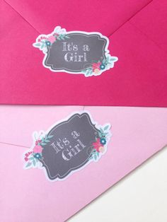 Its A Girl Baby Shower Envelope Seals Invites Labels Seal Stickers 048