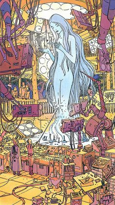A tribute in form of a collection. All artwork by Jean Giraud aka Moebius. Jean Giraud, Space Ghost, Moebius Art, Moebius Comics, Serpieri, Arte Indie, Arte Cyberpunk, Ligne Claire, Science Fiction Art