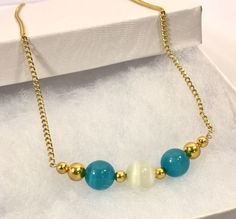 "NEW Faux Blue Grey Tigereye Gold Bead Necklace 19"" Gold Plated Handmade USA  