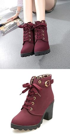 Winter Boots, ✽ANGLIN✽ Womens Fashion High Heel Lace Up Ankle Boots Buckle Platform Shoes (8, Red)