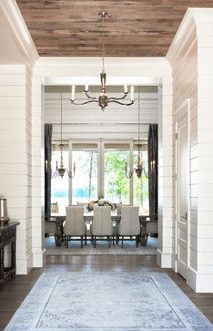 Love the contrast between the walls and ceilings. Good idea for an older house with ship lap walls!  Wall Trim Moulding Design Ideas, Pictures, Remodel and Decor