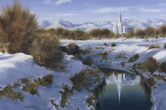 Al was excited that at this location he could see this beautiful new Oquirrh Mountain temple reflected in the water of an original pioneer canal that still brings water to the farms on the West side of the valley. Utah Temples, Lds Temples, West Side, Farms, Watercolor, Mountains, Fine Art, Winter, Travel