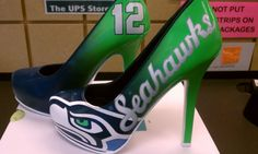 Custom Seahawks high heels! Courtesy of J.Ellis Designs! If I wore heels I would sport these!