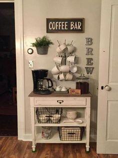 Coffee Bars In Kitchen, Coffee Bar Home, Home Coffee Stations, Coffee Bar Ideas, Coffe Bar, Coffee Kitchen Decor, Coffee 21, Coffee Station Kitchen, House Coffee