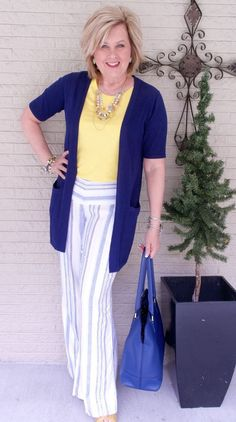 50 IS NOT OLD   A RAY OF SUNSHINE   FASHION OVER 40   Stripes for Spring   Linen Pants   Yellow and Navy   Fashion over 40 for the everyday woman #women'sfashionover50 #women'sfashionforover50 #women'sfashionover40