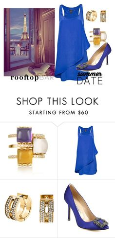 """""""dinner under the stars"""" by evachasioti ❤ liked on Polyvore featuring Mia & Beverly, MANGO, Michael Kors, Manolo Blahnik, summerdate and rooftopbar"""
