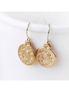Coin Letter Gold Earrings