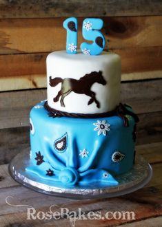 Cowgirl Horse Cake with Turquoise Bandanna!!! Love this Cake!!!
