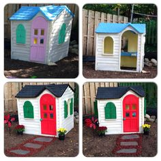 Step 2 Playhouse Makeover : this DIY was rather easy to do. We found this playhouse for free on the curb, gave it a good wash and fresh coat of paint. Now my kids can play in it and during Christmas (Diy Step Makeover)