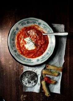 Roasted Tomato Soup with Pesto & Mozzarella Wonton Rolls