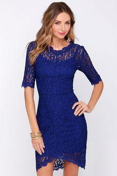 Dance Through the Decades Indigo Blue Lace Dress at Lulus.com!