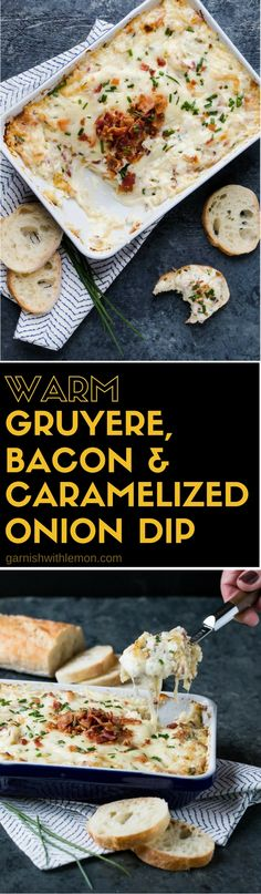Guaranteed to be the FIRST dip gone at your Super Bowl party! Who can say no to gooey cheese + bacon? This wildly popular Warm Gruyere, Bacon and Caramelized Onion Dip is a great appetizer recipe for entertaining. Appetizer Dips, Appetizers For Party, Appetizer Recipes, Bacon Appetizers, Dip Recipes, Cooking Recipes, Salmon Recipes, Halloween Fingerfood, Fingers Food