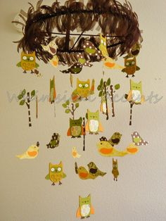 Feathered Friends Owl and Bird Baby Mobile by whimsicalaccents