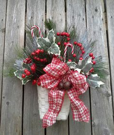 Christmas arrangement  Door basket Flower Arrangement by 6miles, $28.00