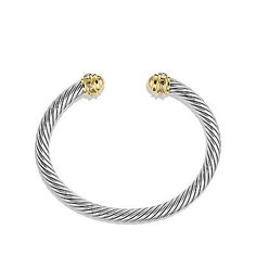 Auth David Yurman Sterling Silver 18k Gold Pave Diamond Cable Cuff Bracelet 5mm - http://designerjewelrygalleria.com/david-yurman/auth-david-yurman-sterling-silver-18k-gold-pave-diamond-cable-cuff-bracelet-5mm/