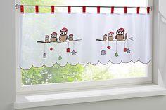 Weihnachtseulen Motiv. Mit roten Schlaufen. Mit hängenden Elementen im Motiv. Materialzusammensetzung: Obermaterial: 100% Polyester...