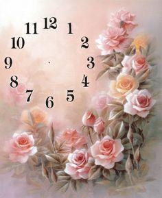 Gallery.ru / Фото #14 - Часы - Galazil Decoupage Vintage, Decoupage Paper, Vintage Paper, Clock Face Printable, Shabby Chic Clock, Clock Flower, Decoupage Printables, Rose Icon, Retro Clock