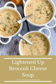 Lightened Up Broccoli Cheese Soup - Pound Dropper Cheap Clean Eating, Clean Eating Snacks, Healthy Eating, Brocolli Cauliflower Soup, Healthy Sweet Snacks, Healthy Recipes, Healthy Soups, Best Broccoli Cheese Soup, Broccoli Cheddar