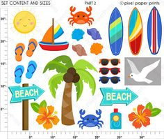 Surfer Boys Clipart Clip Art and Digital by pixelpaperprints