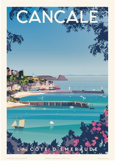 - Wild - Cancale, la côte d'émeraude - Gazelle Productions®, travel poster Cancale, the Emerald Coast - Gazel. Posters Decor, Beach Illustration, Beach Posters, Reisen In Europa, Poster Design, Poster S, City Landscape, Philippines Travel, Travel Aesthetic