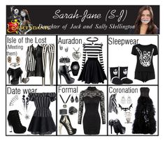 """""""Sarah-Jane (S-J). Daughter of Jack and Sally Skellington"""" by elmoakepoke ❤ liked on Polyvore featuring Dabuwawa, Paige Denim, Chicwish, Fahrenheit, Dsquared2, Nine West, Forever New, Karen Millen, Zuhair Murad and House of Harlow 1960"""