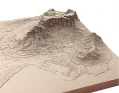 Exaggerated Relief Map of Table Mountain, Cape Town - laser cut tactile map by Nikki Onderstall Table Mountain Cape Town, Rpg Map, Geography Map, Landscape Model, Arch Model, Cape Town South Africa, Fantasy Map, 3d Prints, Map Design