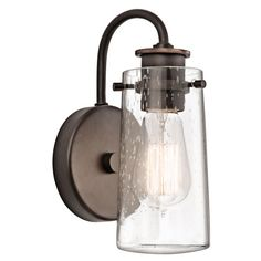 Buy the Kichler Olde Bronze Direct. Shop for the Kichler Olde Bronze Braelyn 1 Light Industrial Wall Sconce and save. Bronze Wall Sconce, Rustic Wall Sconces, Bathroom Wall Sconces, Candle Wall Sconces, Bathroom Vanity Lighting, Wall Sconce Lighting, Home Lighting, Sconces Living Room, Outdoor Lighting