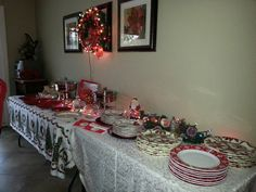 Setting your buffet table. Just change out Christmas for your event.