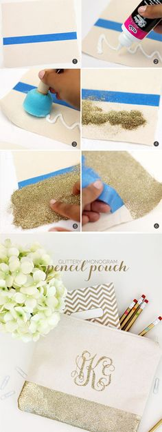 DIY Gold Glitter Monogram Pencil Pouch with Iron-On Monogram tutorial