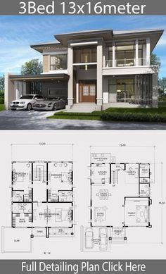 Home design plan with 3 Bedrooms. Two-story house Contemporary style Design a full area of ? House Layout Plans, Modern House Plans, House Layouts, Modern House Design, Plan Ville, Interior Design Living Room Warm, Three Bedroom House Plan, Architectural House Plans, House Blueprints