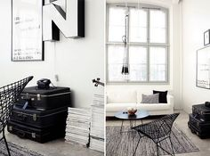 Suitcases as storage in living room