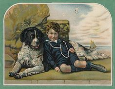 NEWFOUNDLAND SMALL BOY AND DOG LOVELY PRINT MOUNTED READY TO FRAME