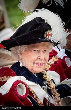 Queen Elizabeth II attends the The Order of the Garter Service at St George's Chapel at Windsor Castle on June 15, 2015 in Windsor, England. © dpa picture alliance / Alamy