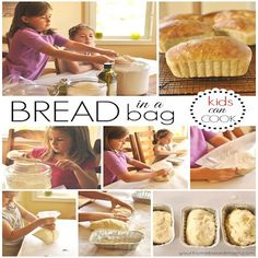 Kids Meals Bread in a Bag Step by Step Instructions and Recipe - such a fun way to get the kids involved in baking! - Making Bread in a Bag is going to become a favorite activity! Little kids and big kids alike will love making their own loaf of bread. Tortillas, Breakfast Desayunos, Breakfast Recipes, Bread Bags, Tasty, Yummy Food, Crumpets, Kid Friendly Meals, Cooking Classes
